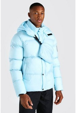 Light blue blue 2 In 1 Hooded Puffer With Detachable Xbody Bag