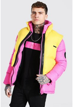 Pink 2 In 1 Puffer With Removable Gilet