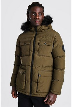 Khaki 4 Pocket Fur Trim Parka