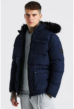 Navy 4 Pocket Fur Trim Parka