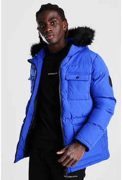 Blue 4 Pocket Fur Trim Parka