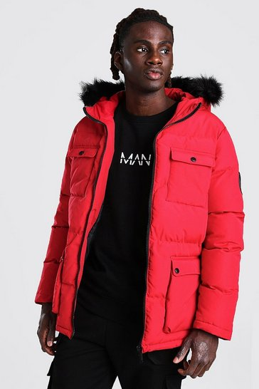 Red 4 Pocket Fur Trim Parka