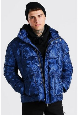 Navy Metallic Camo Funnel Neck Puffer