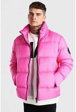 Pink Oversized Curved Hem Puffer