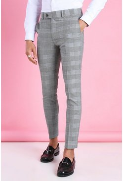 Black Super Skinny Prince Of Wales Check Trousers