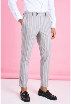 Pink Skinny Smart Neon Stripe Trouser