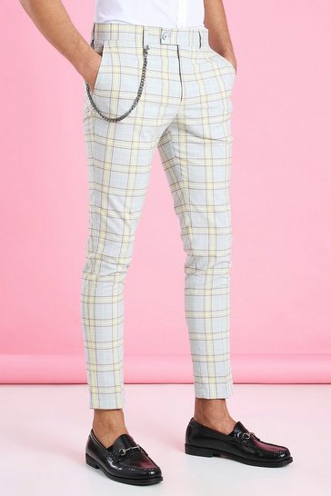 Yellow Super Skinny Smart Check Trouser with Chain