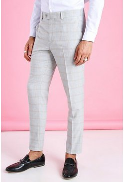 Light grey grå Skinny Smart Check Trouser