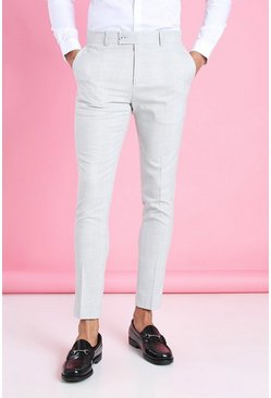 Light grey grey Geruite Super Skinny Fit Pantalons