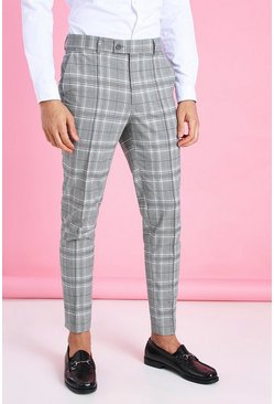 Black Skinny Tapered Smart Check Pants With Pintuck