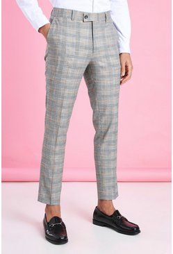 Black Skinny Smart Neon Check Trouser