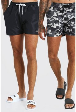 Black 2 Pack Camo Print And Plain Mid Length Swim Shorts
