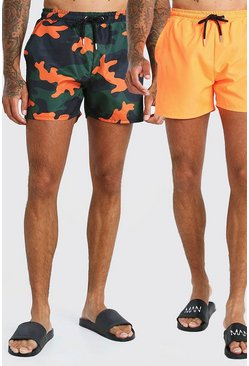Orange 2 Pack Camo Print And Plain Mid Length Swim Shorts