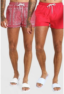 Red 2 Pack Bandana And Plain Short Length Swim Shorts