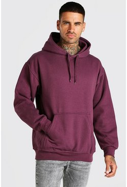 Burgundy röd Basic Hoodie i fleece
