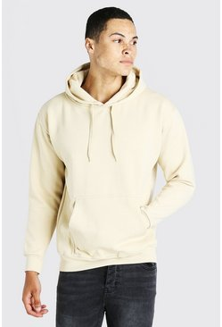 Stone beige Basic Over The Head Fleece Hoodie