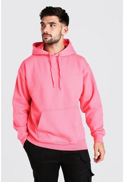 Pink Basic Over The Head Fleece Hoodie