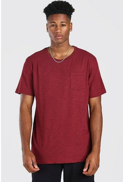 Bordeauxrood red Basic T-shirt met ronde hals en borstzak