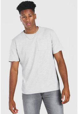 Grey marl Basic Crew Neck Pocket T-Shirt