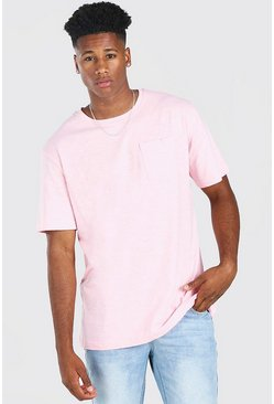 Pale pink Basic Crew Neck Pocket T-Shirt
