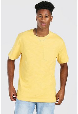 Mustard yellow Basic Crew Neck Pocket T-Shirt