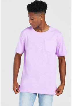 Lilac Basic Crew Neck Pocket T-Shirt