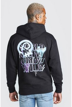 Black Oversized World Wild Back Print Hoodie