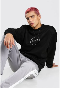 Black Oversized MAN Circle Back Print Sweatshirt