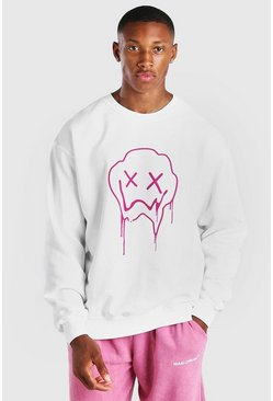 White Drip Face Print Sweatshirt