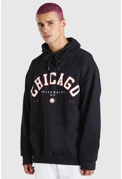 Black Oversized Chicago Print Hoodie