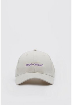 Stone beige MAN Official Pastel Text Curve Peak Cap
