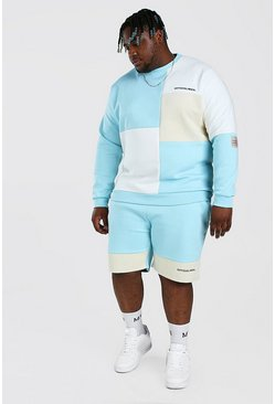 Blue Big And Tall Colour Block Short Tracksuit