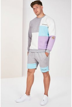 Grey marl Big And Tall Colour Block Short Tracksuit