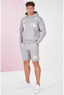 Grey marl grey Plus Size Graffiti Tracksuit