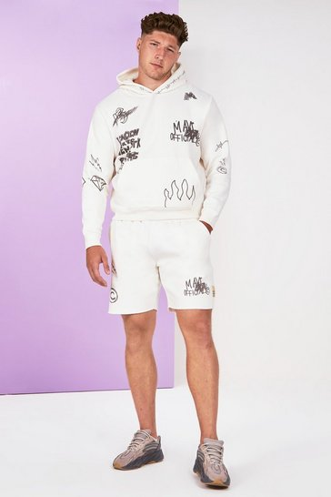 Stone beige Big And Tall Graffiti Tracksuit