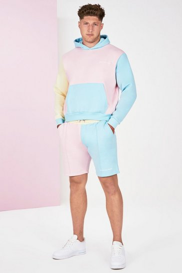 Pink Big And Tall Colour Block Tracksuit
