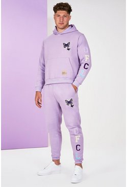 Lilac purple Big And Tall Butterfly Text Tracksuit