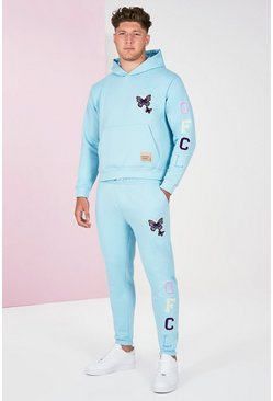 Blue Plus Size Butterfly Text Tracksuit
