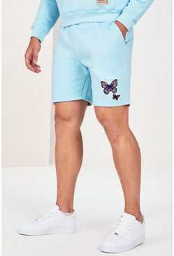 Blue Plus Size Butterfly Text Jersey Short
