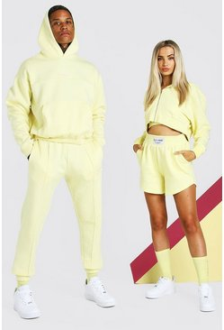 Yellow ABODE His Cropped Tracksuit With Woven Tab