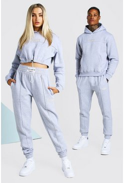 Grey marl ABODE Hers Cropped Tracksuit With Woven Tab