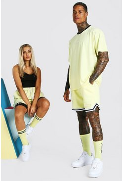 Yellow ABODE His Oversized Tee & Basketball Short Set