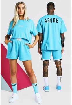 Blue ABODE Hers Cropped Tee & Short Set