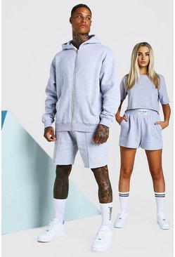 Grey marl grey ABODE His Zip Through Hooded Short Tracksuits