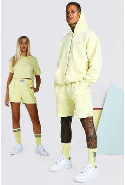 Yellow gul ABODE His Zip Through Hooded Short Tracksuit