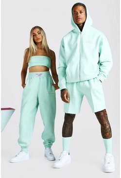 Mint green ABODE His Zip Through Hooded Short Tracksuit