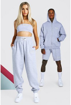 Grey marl ABODE Hers Bandeau & Jogger Set With Woven Tab