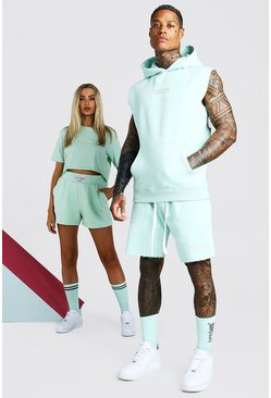 Mint green ABODE His Sleeveless Hooded Short Tracksuit