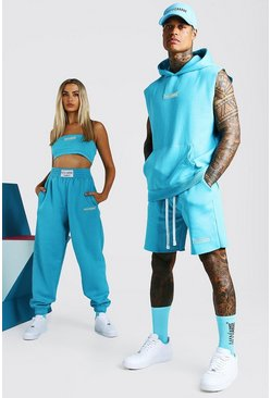 Blue ABODE His Sleeveless Hooded Short Tracksuit