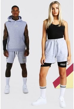 Grey marl grey ABODE Hers Unitard And Short Set